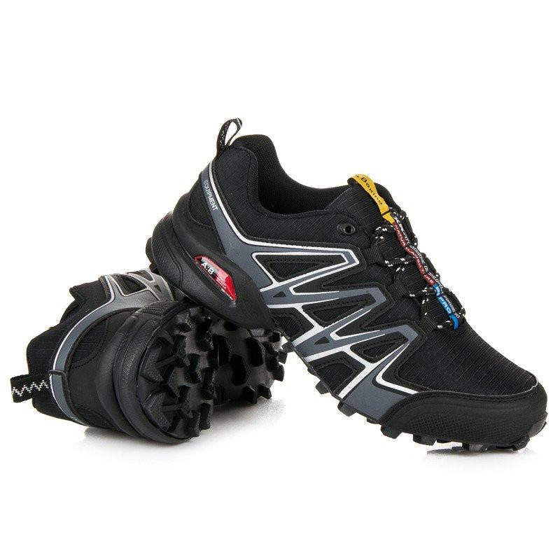 Pohodlné čierne pánske trekové topánky - Pánska vychádzková obuv ... 96aa535edaa