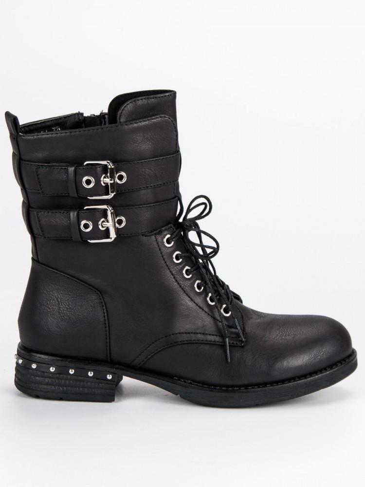 6380378cf Pohodlné čierne šnurovacie WORKERY - Dámske topánky - Locca.sk