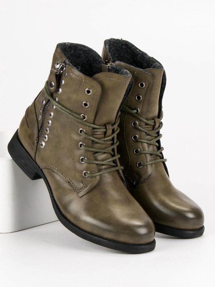 435307511055 Pohodlné dámske zelené Členkové topánky na plochom podpätku - Dámske ...