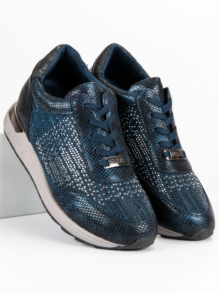 5c4de2c498 Pohodlné modré dámske bez podpätku - Dámske tenisky na platforme ...