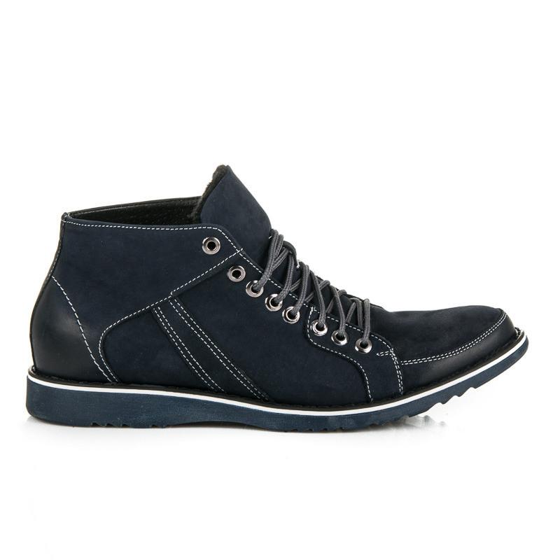 6bddbf745f Pohodlné modré pánske kožené členkové topánky - Pánska zimná obuv ...