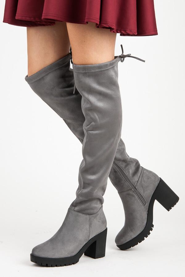 782d8354bf Pohodlné šedé semišové čižmy na podpätku - Dámske čižmy nad kolená ...