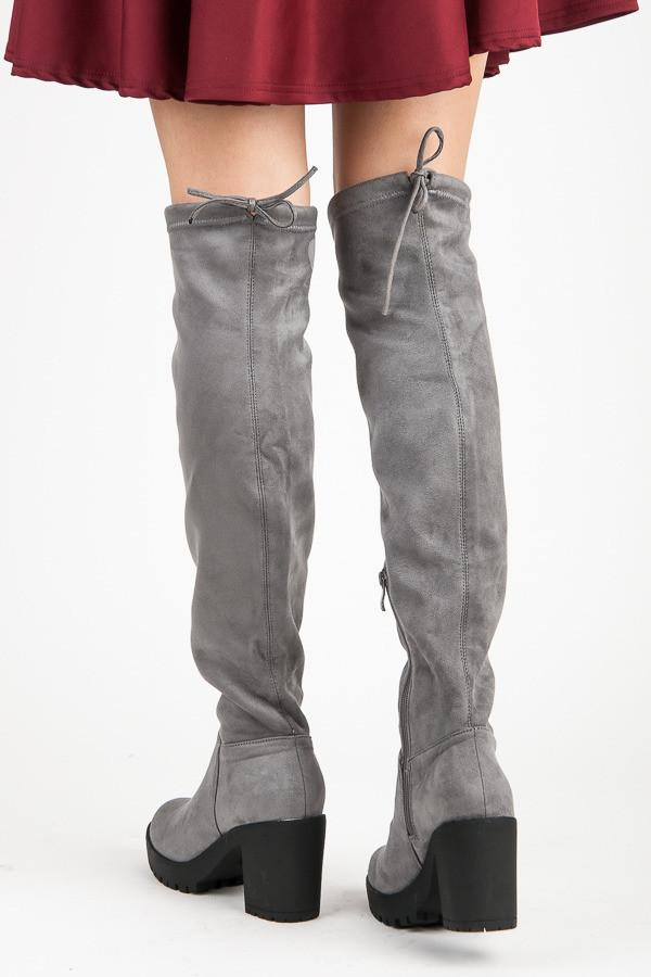 eff03ad18 Pohodlné šedé semišové čižmy na podpätku - Dámske čižmy nad kolená ...