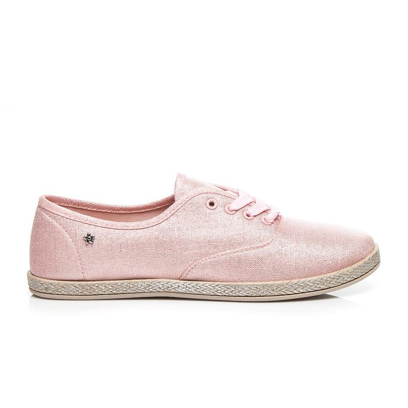 Praktické  tenisky ružové dámske bez podpätku