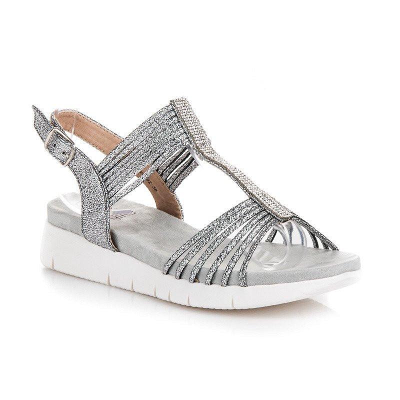 727d1f9ad3db Romantické trblietavé sandále v striebornej farbe - Dámske sandále ...