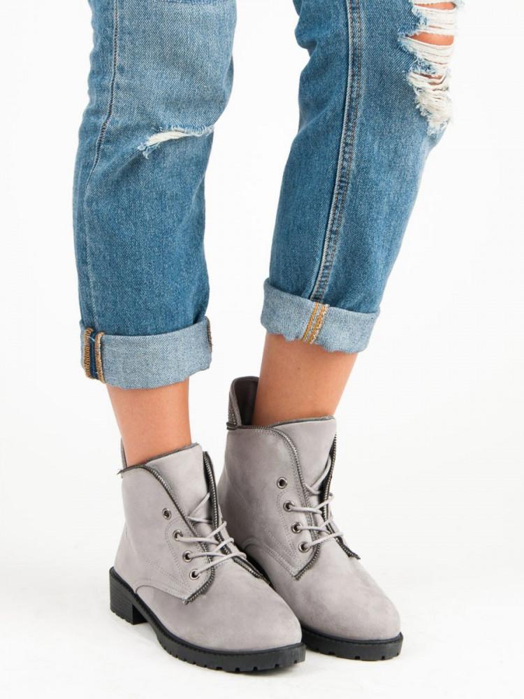 ae5fbc3e9b72 Šedé nízke semišové členkové topánky so šnurovaním - Dámske topánky ...