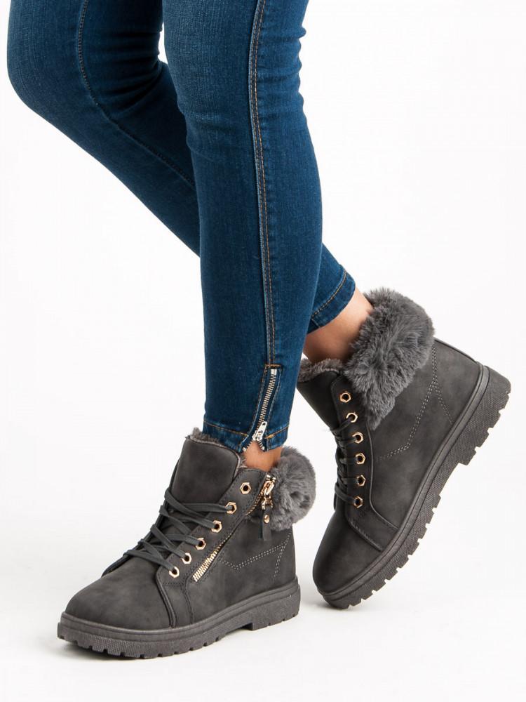 3837f834c6 Šedé šnurovacie členkové topánky - Dámske topánky - Locca.sk