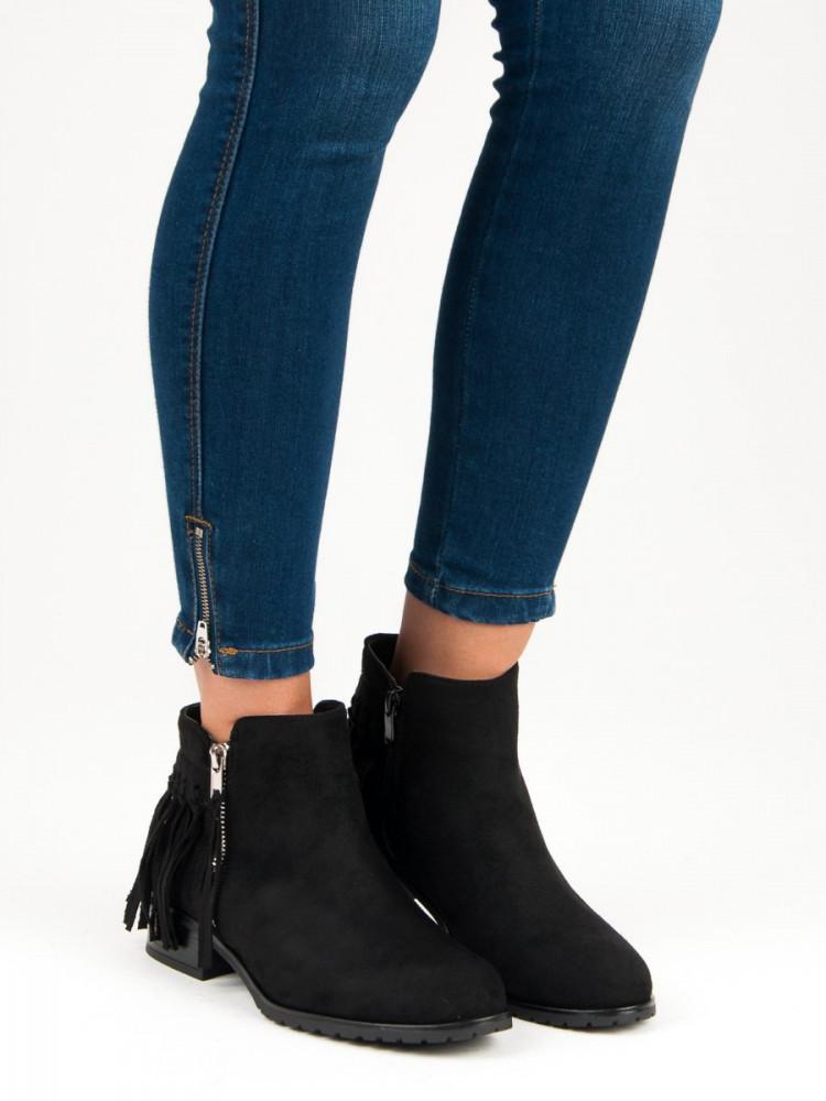 4c870c68e0a6 Semišové čierne členkové topánky so strapcami - Dámske topánky ...