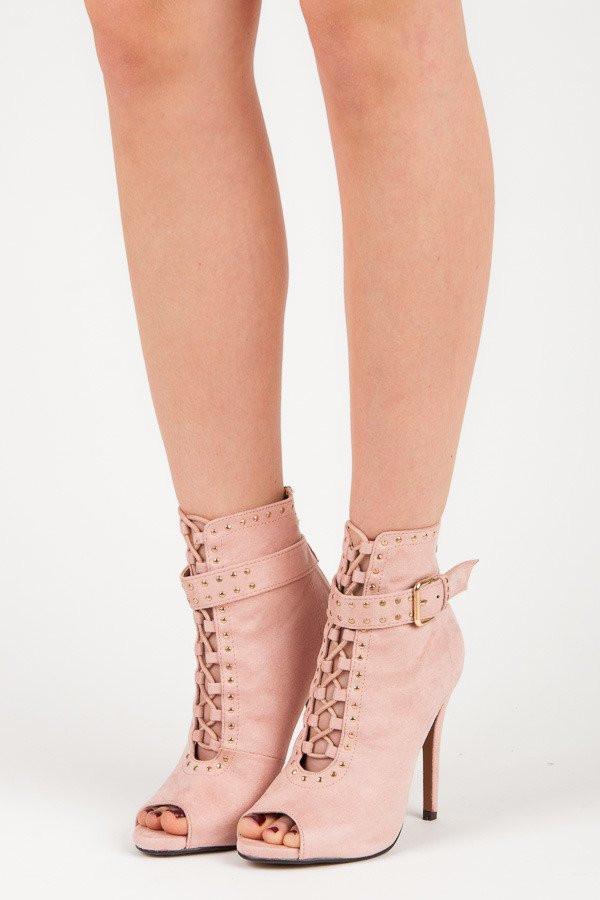 15e1584521ba Semišové ružové členkové topánky s otvorenou špičkou - Dámske ...