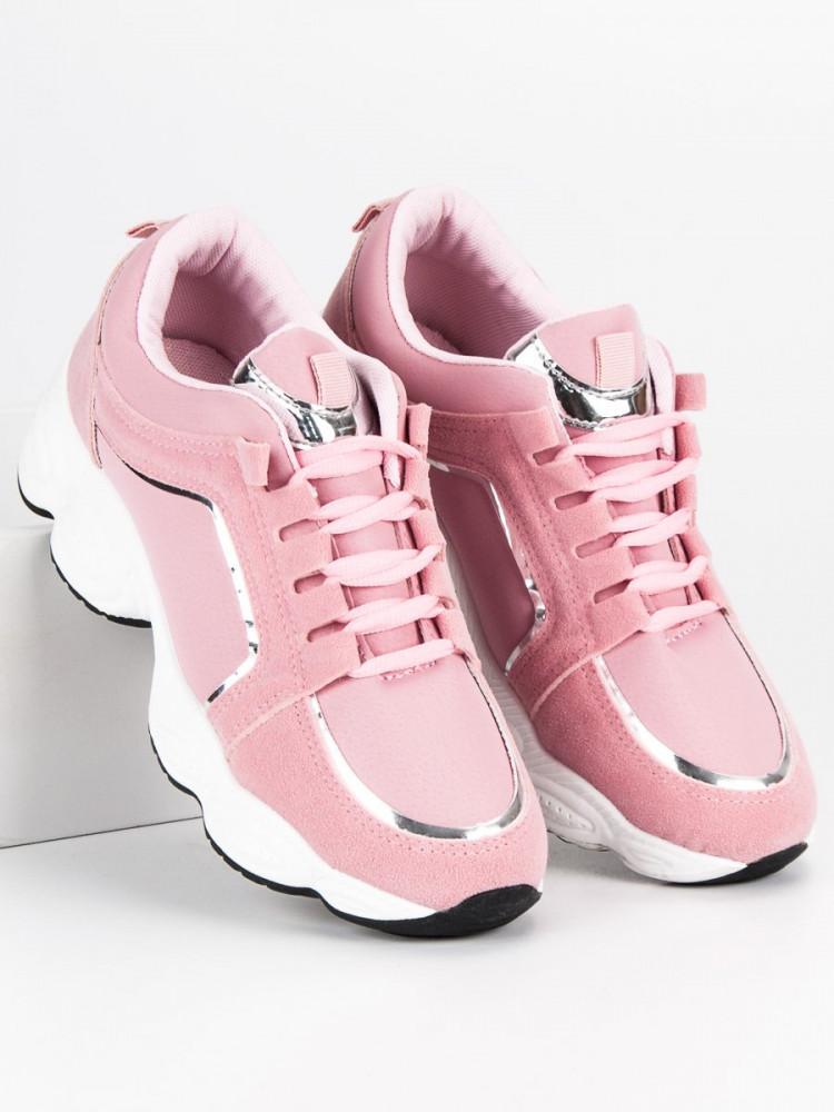 b81da86bf89f9 Semišové ružové športové tenisky so šnurovaním - Dámske športové ...