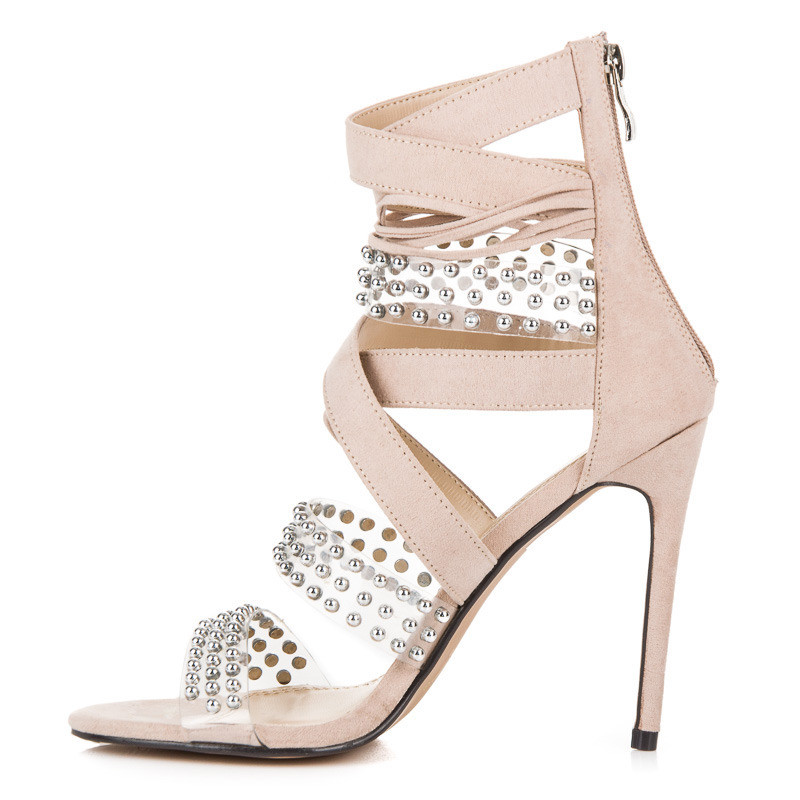 d23743264d9d Sexy béžové sandále na vysokej ihle s kamienkami - Dámske sandále ...