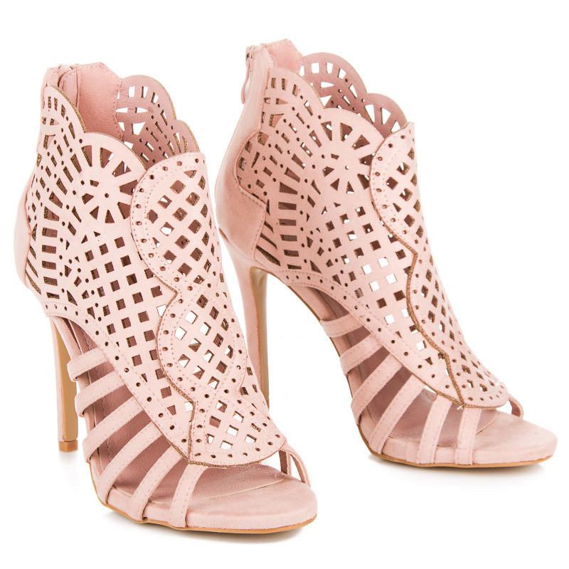 ef06e5eb6c00 Sexy semišové ružové sandále na ihličkovom podpätku - Dámske sandále ...