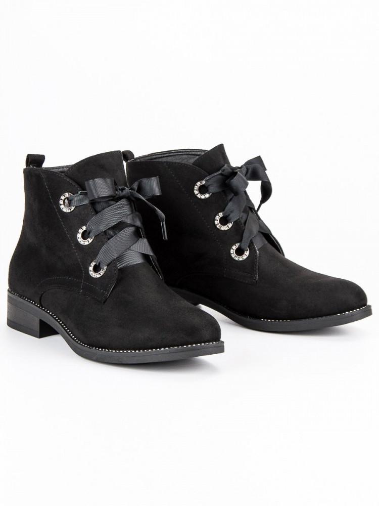 Skvelé čierne členkové topánky viazané stužkou - Dámske topánky ... 1c742b47c99