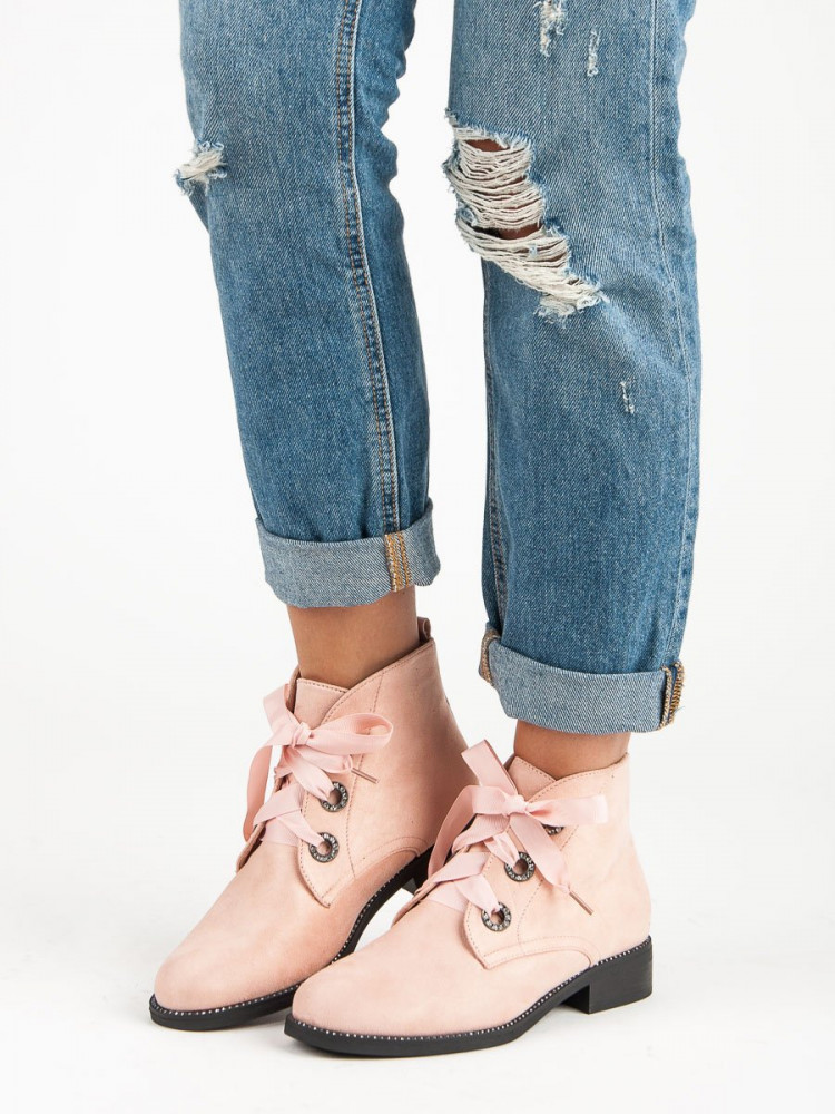 00b7798fe620 Skvelé ružové členkové topánky viazané stužkou - Dámske topánky ...
