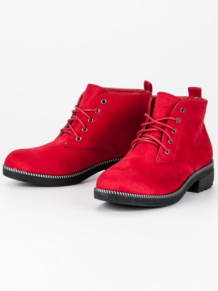 d288a115cb54f Šnurovacie červené semišové členkové topánky - Dámske topánky - Locca.sk