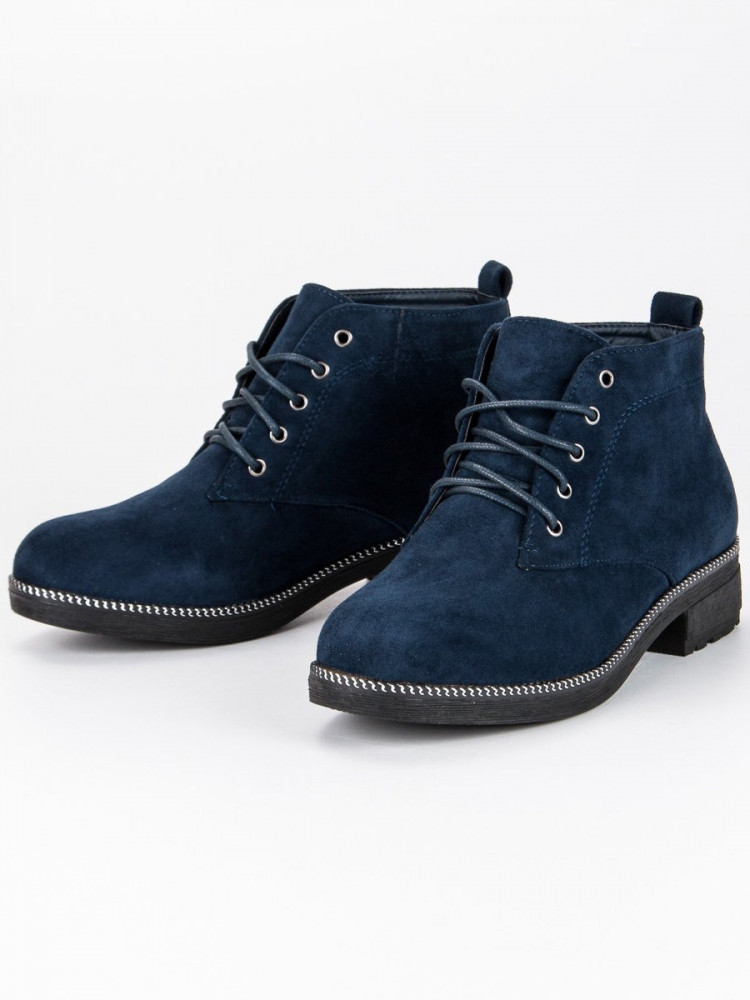 2d2782362308 Šnurovacie modré semišové členkové topánky - Dámske topánky - Locca.sk