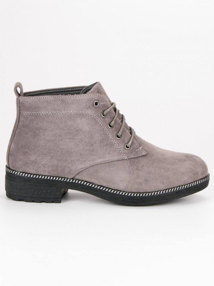 fb3c56557694 Šnurovacie šedé semišové členkové topánky - Dámske topánky - Locca.sk