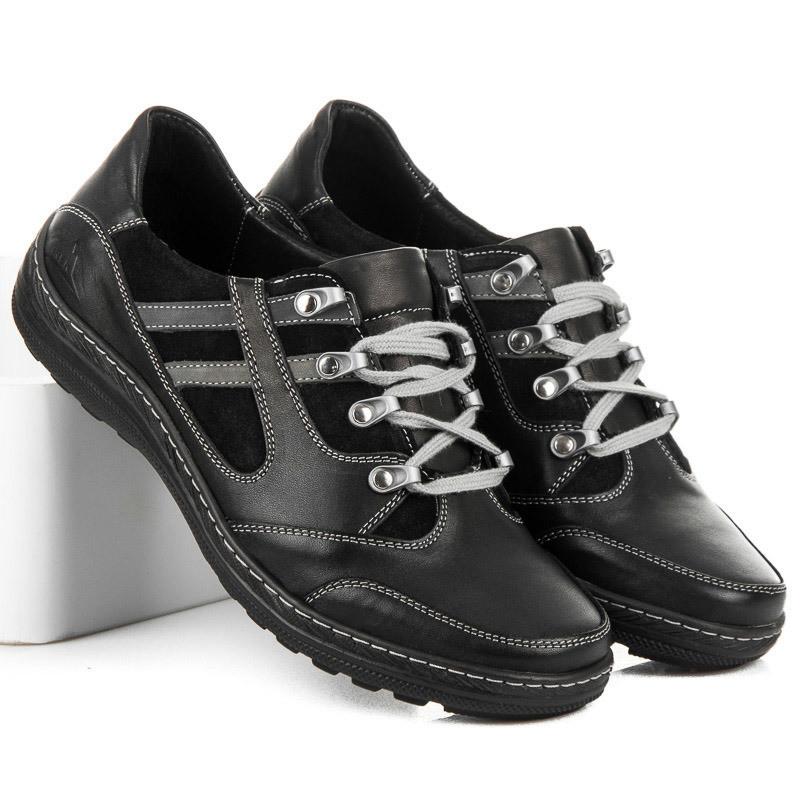 Športové čierne pánske kožené poltopánky - Pánska elegantná obuv ... bac80d327fe
