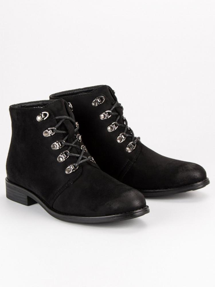 Štýlové čierne členkové topánky s viazaním - Dámske topánky - Locca.sk 783f2d92110