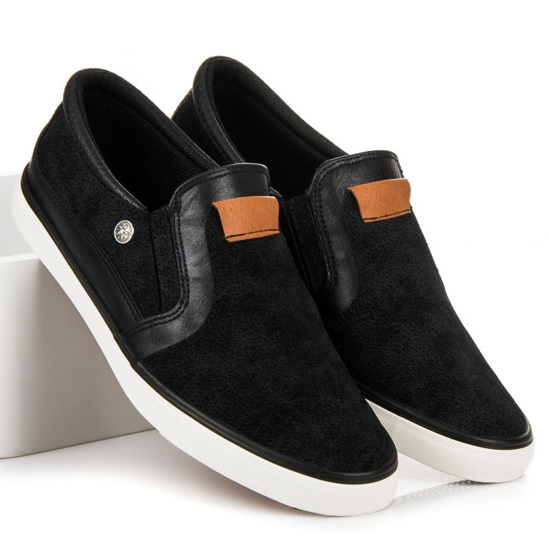 Štýlové čierne pánske nazúvacie tenisky - Pánska elegantná obuv ... 0b2cff3372a