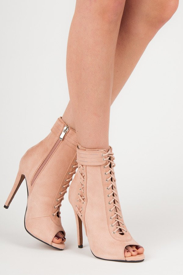 Štýlové ružové šnurovacie členkové topánky s otvorenou špičkou ... d305861aca7