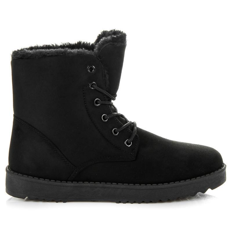 Teplé čierne členkové topánky s kožušinkou - Dámske topánky - Locca.sk ba76fcdf7dd