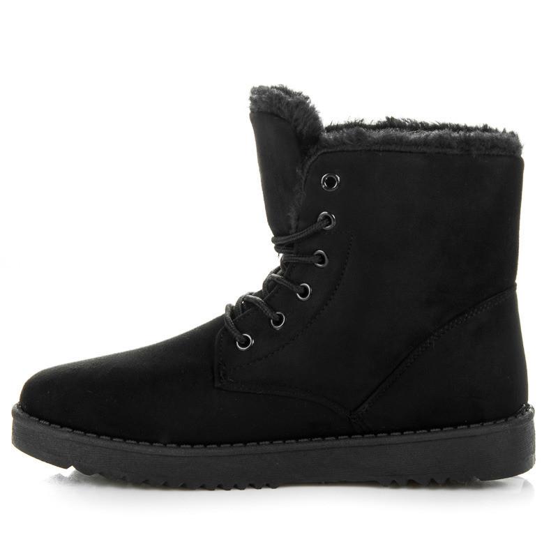2e8e247090d56 Teplé čierne členkové topánky s kožušinkou - Dámske topánky - Locca.sk