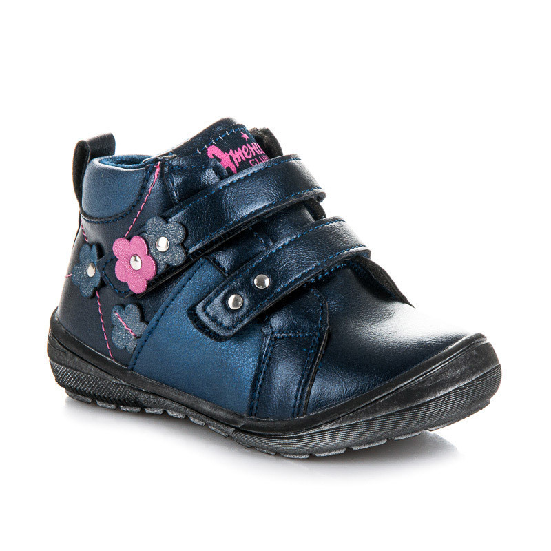 Teplé modré dievčenské členkové topánky na suchý zips - Detské čižmy ... 138eedaf52d