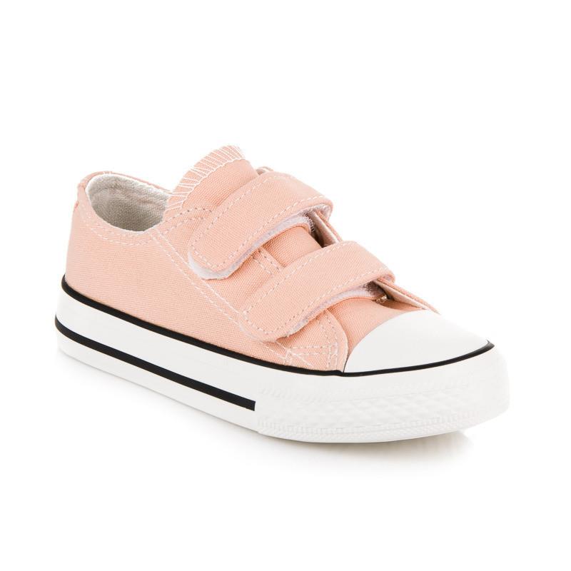 284420393e5e Textilné ružové detské tenisky na suchý zips - Detské tenisky - Locca.sk