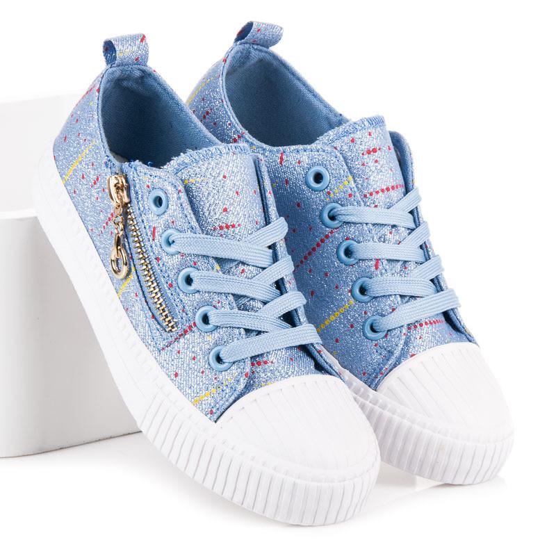 735153e6806e9 Trblietavé modré detské tenisky so zipsom - Detské tenisky - Locca.sk