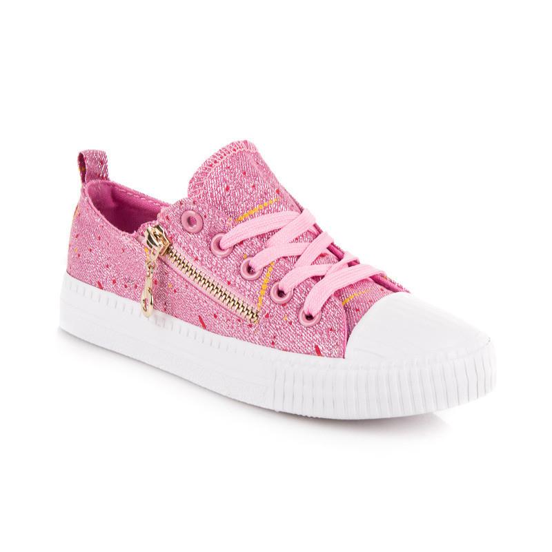 94a455ebb Trblietavé ružové detské tenisky so zipsom - Detské tenisky - Locca.sk
