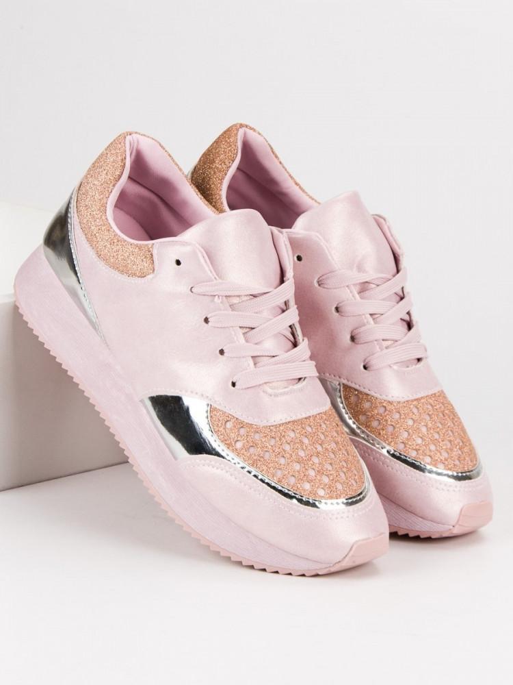 b14b5bcaebe6 Trendy tenisky dámske ružové bez podpätku - Dámske členkové tenisky ...