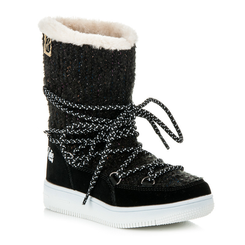 6d7b84af95ce6 Veľmi elegantné čierne detské snehule s efektným viazaním - Detské ...