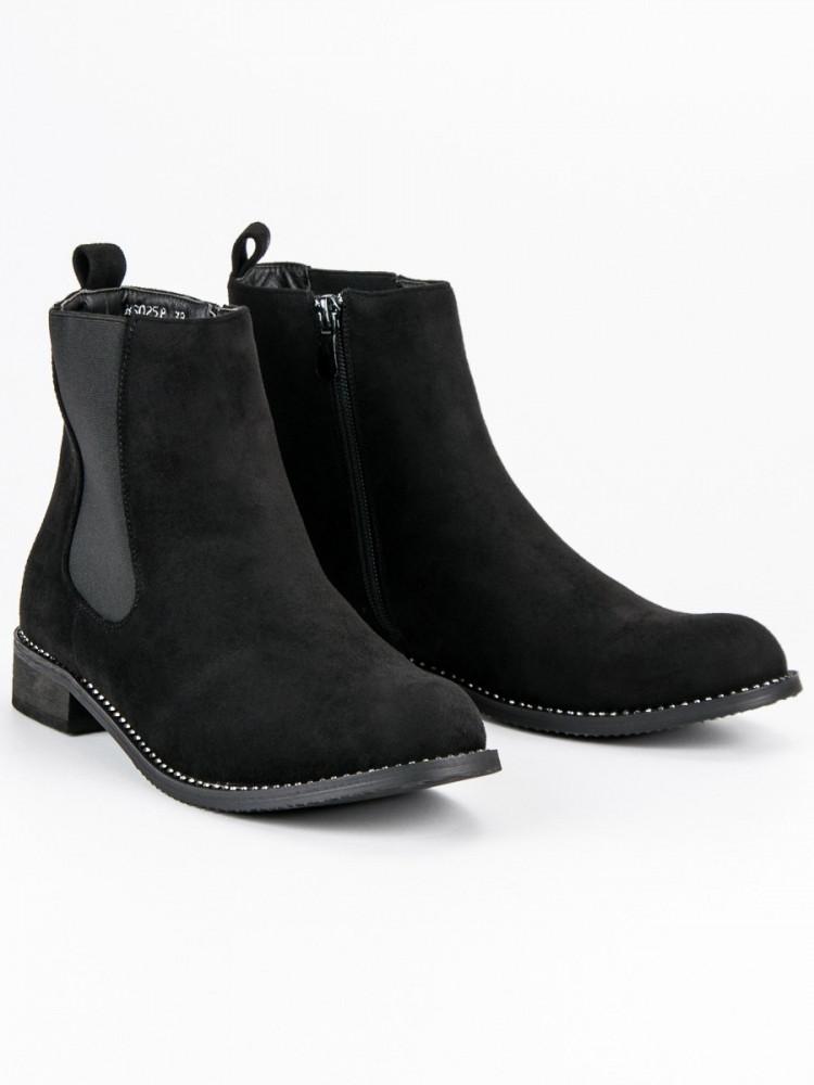 f8a8307967111 Výborné dámske Členkové topánky čierne na plochom podpätku - Dámske ...