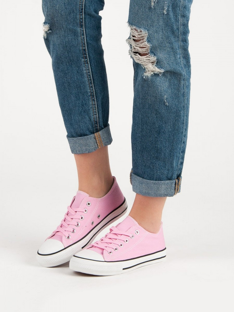 Výborné ružové dámske  tenisky bez podpätku