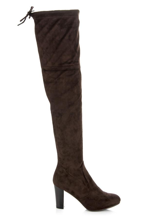 fce0a0ca61 Vysoké hnedé čižmy na stĺpcovom podpätku - Dámske čižmy nad kolená ...