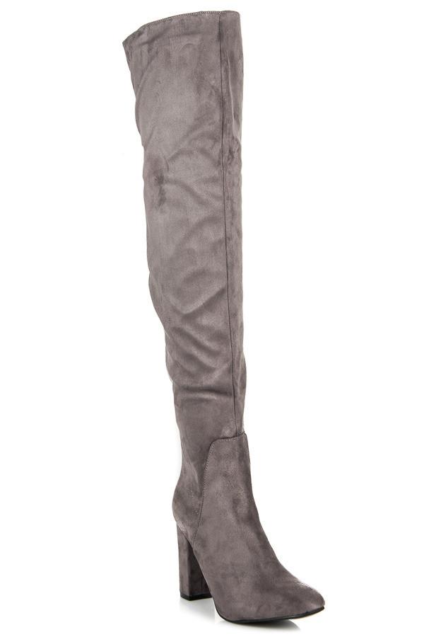 1a63764e70 Vysoké šedé semišové čižmy na podpätku - Dámske čižmy nad kolená ...