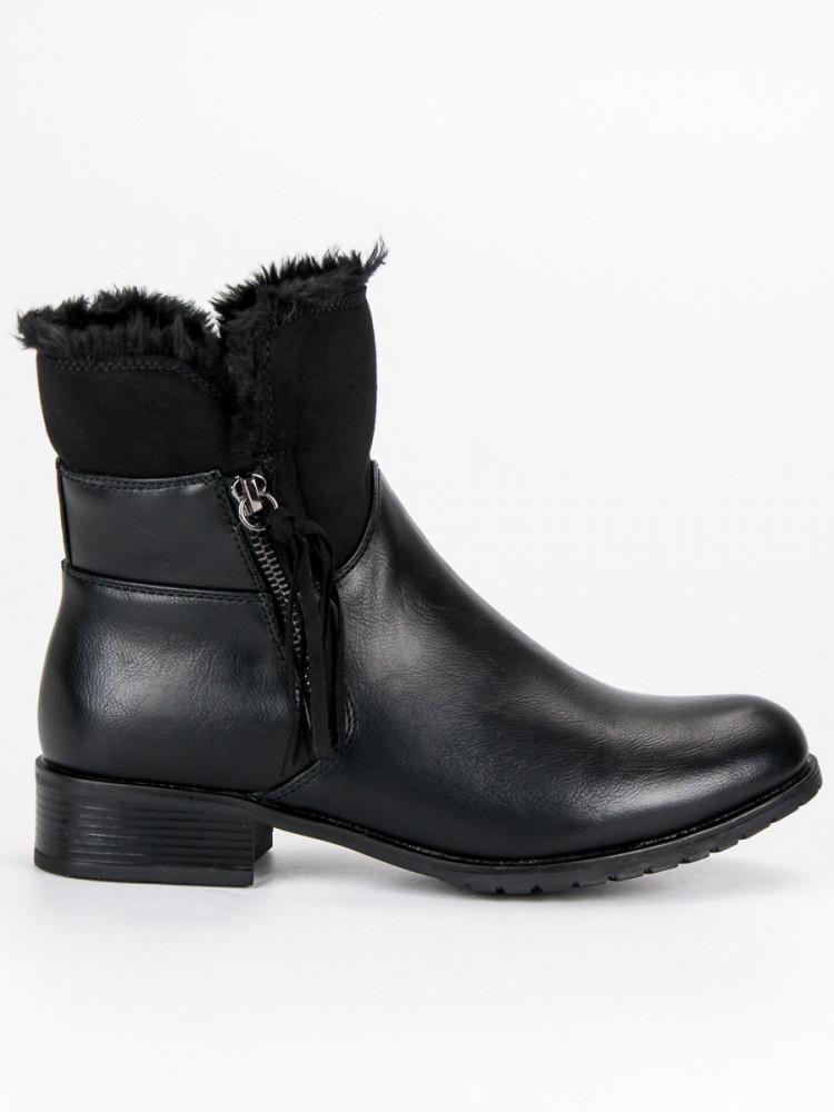 beb746c41f25 Zateplené čierne členkové topánky - Dámske topánky - Locca.sk