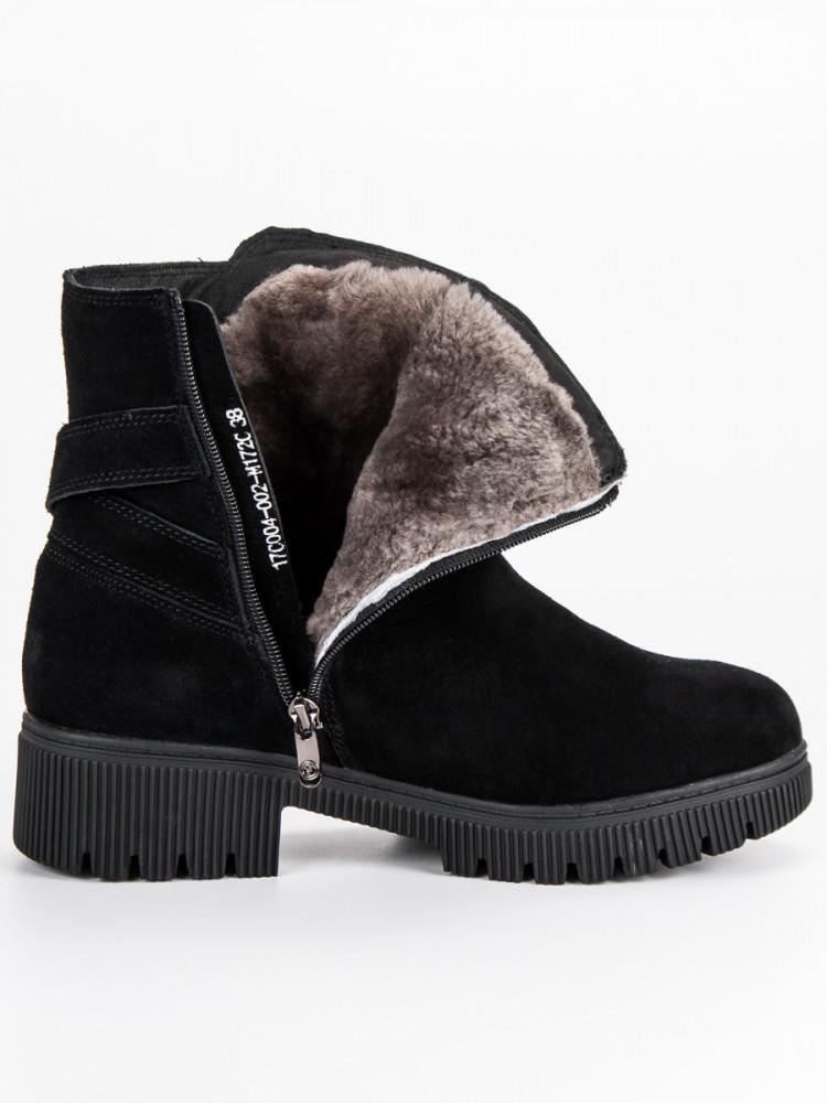 8d7cb523d3 Zateplené čierne kožené topánky - Dámske topánky - Locca.sk