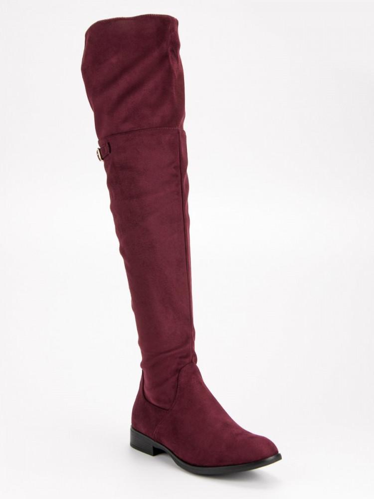 a4b0ba2a70 Zaujímavé dámske červené na plochom podpätku - Dámske vysoké čižmy ...