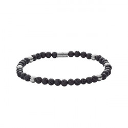 PULSEIRA FOSSIL BEAD STRETCH BLACK SILVER