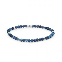 PULSEIRA FOSSIL BEAD STRETCH BLUE SILVER