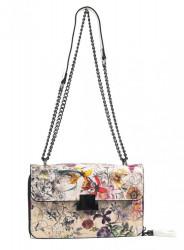 Crossbody dámska kabelka na retiazke s potlačou 6257 biela