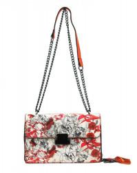 Crossbody dámska kabelka na retiazke s potlačou 6257 oranžová