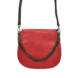 Crossbody kabelka s ozdobnou retiazkou 5007 červená