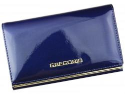 Gregorio modrá lakovaná dámska kožená peňaženka v darčekovej krabičke
