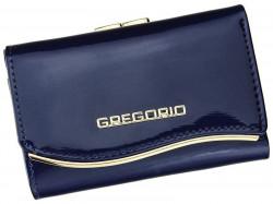 Gregorio modrá lakovaná malá dámska kožená peňaženka v darčekovej krabičke ZLF-117