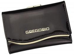 Gregorio tmavo hnedá lakovaná malá dámska kožená peňaženka v darčekovej krabičke ZLF-117