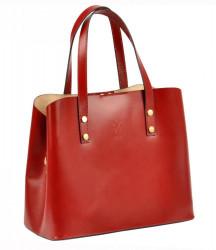 Kožená bordová dámska kabelka do ruky Florencia #3