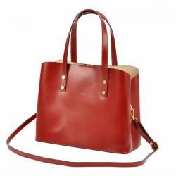 Kožená bordová dámska kabelka do ruky Florencia #4